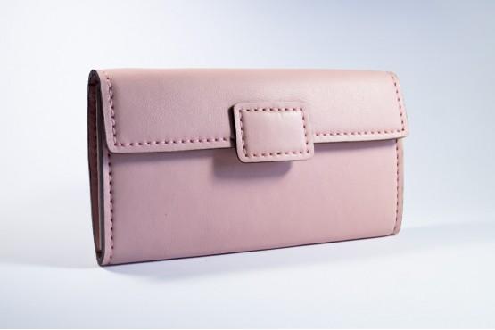JANE. Кожаный женский кошелек пудрового цвета