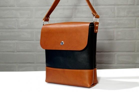 CITY. Черно-коричневая кожаная мужская сумка через плечо