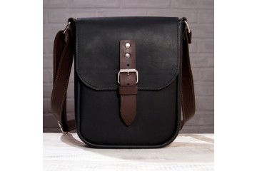 Urban Midi. Черная кожаная мужская сумка через плечо