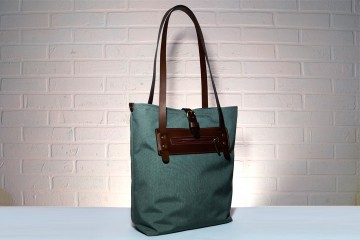 HANDY. Серая женская сумка - тоут из прочной ткани и кожи