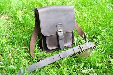 URBAN. Темно-коричневая кожаная мужская сумка