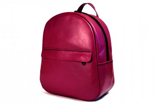 SYMPHONY. Кожаный женский рюкзак ягодного цвета